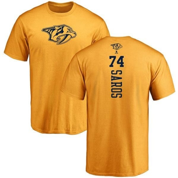 sneakers for cheap 546dc b82b5 Men's Juuse Saros Nashville Predators One Color Backer T-Shirt - Gold -  Teams Tee