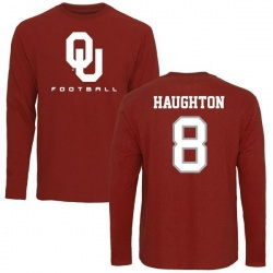 Men's Kahlil Haughton Oklahoma Sooners Football Long Sleeve T-Shirt - Cardinal