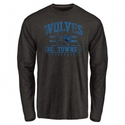 Men's Karl-Anthony Towns Minnesota Timberwolves Black Baseline Tri-Blend Long Sleeve T-Shirt