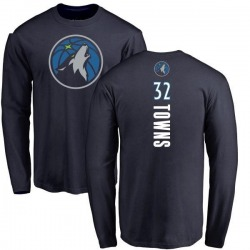 Men's Karl-Anthony Towns Minnesota Timberwolves Navy Backer Long Sleeve T-Shirt