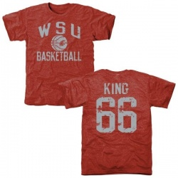 Men's Keenen King Washington State Cougars Distressed Basketball Tri-Blend T-Shirt - Crimson