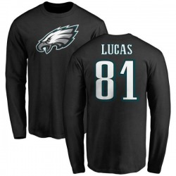 Men's Keevan Lucas Philadelphia Eagles Name & Number Logo Long Sleeve T-Shirt - Black