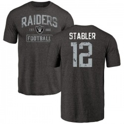 Men's Ken Stabler Oakland Raiders Black Distressed Name & Number Tri-Blend T-Shirt