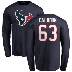Men's Kendall Calhoun Houston Texans Name & Number Logo Long Sleeve T-Shirt - Navy