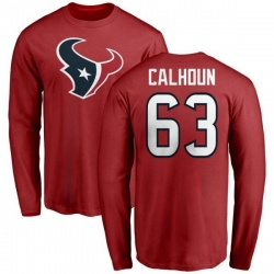 Men's Kendall Calhoun Houston Texans Name & Number Logo Long Sleeve T-Shirt - Red