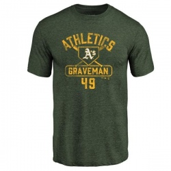 Men's Kendall Graveman Oakland Athletics Base Runner Tri-Blend T-Shirt - Green
