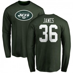 Men's Kendall James New York Jets Name & Number Logo Long Sleeve T-Shirt - Green