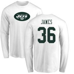 Men's Kendall James New York Jets Name & Number Logo Long Sleeve T-Shirt - White
