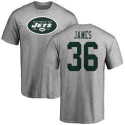 Men's Kendall James New York Jets Name & Number Logo T-Shirt - Ash