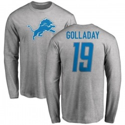 Men's Kenny Golladay Detroit Lions Name & Number Logo Long Sleeve T-Shirt - Ash