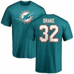Men's Kenyan Drake Miami Dolphins Name & Number Logo T-Shirt - Aqua