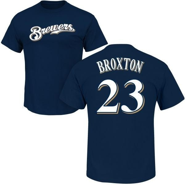 sports shoes a15e2 9e074 Men's Keon Broxton Milwaukee Brewers Roster Name & Number T-Shirt - Navy -  Teams Tee