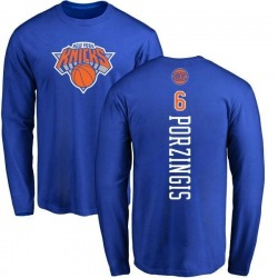 Men's Kristaps Porzingis New York Knicks Royal Backer Long Sleeve T-Shirt