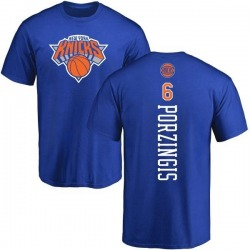 Men's Kristaps Porzingis New York Knicks Royal Backer T-Shirt