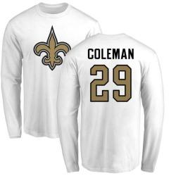 Men's Kurt Coleman New Orleans Saints Name & Number Logo Long Sleeve T-Shirt - White