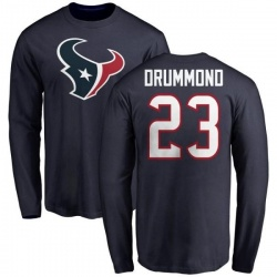 Men's Kurtis Drummond Houston Texans Name & Number Logo Long Sleeve T-Shirt - Navy