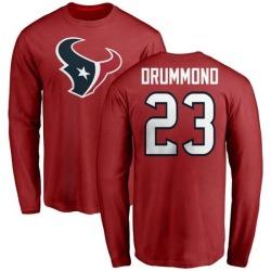 Men's Kurtis Drummond Houston Texans Name & Number Logo Long Sleeve T-Shirt - Red