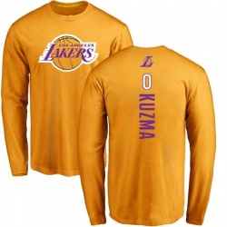 Men's Kyle Kuzma Los Angeles Lakers Gold Backer Long Sleeve T-Shirt