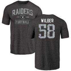 Men's Kyle Wilber Oakland Raiders Black Distressed Name & Number Tri-Blend T-Shirt
