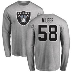 Men's Kyle Wilber Oakland Raiders Name & Number Logo Long Sleeve T-Shirt - Ash