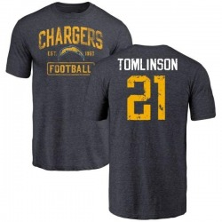 Men's LaDainian Tomlinson Los Angeles Chargers Distressed Name & Number Tri-Blend T-Shirt - Navy