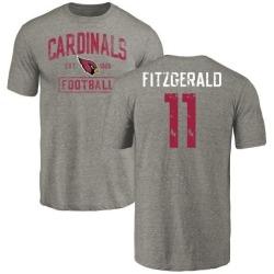 Men's Larry Fitzgerald Arizona Cardinals Gray Distressed Name & Number Tri-Blend T-Shirt