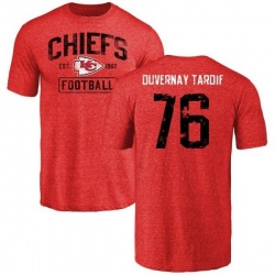 Men's Laurent Duvernay-Tardif Kansas City Chiefs Red Distressed Name & Number Tri-Blend T-Shirt