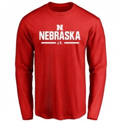 Men's Lavan Alston Jr. Nebraska Cornhuskers Sport Wordmark Long Sleeve T-Shirt - Scarlet