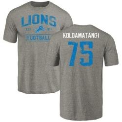 Men's Leo Koloamatangi Detroit Lions Gray Distressed Name & Number Tri-Blend T-Shirt