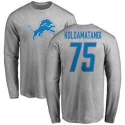 Men's Leo Koloamatangi Detroit Lions Name & Number Logo Long Sleeve T-Shirt - Ash