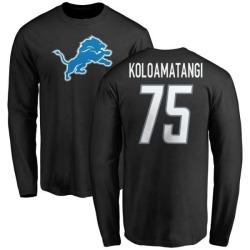 Men's Leo Koloamatangi Detroit Lions Name & Number Logo Long Sleeve T-Shirt - Black