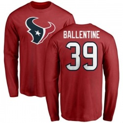 Men's Lonnie Ballentine Houston Texans Name & Number Logo Long Sleeve T-Shirt - Red