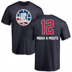 Men's Luc Mbah a Moute Los Angeles Clippers Navy Name and Number Banner Wave T-Shirt