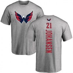 Men's Lucas Johansen Washington Capitals Backer T-Shirt - Ash