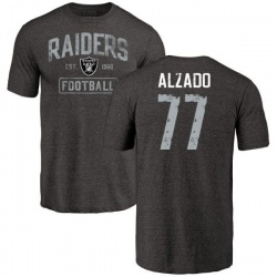 Men's Lyle Alzado Oakland Raiders Black Distressed Name & Number Tri-Blend T-Shirt