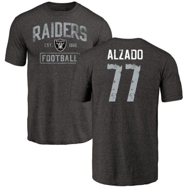 Distressed Men's T-shirt Teams Tee - Oakland Tri-blend Lyle amp; Name Number Alzado Black Raiders