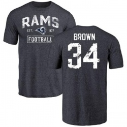 Men's Malcolm Brown Los Angeles Rams Distressed Name & Number Tri-Blend T-Shirt - Navy