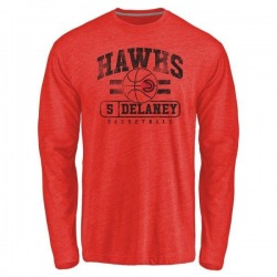 Men's Malcolm Delaney Atlanta Hawks Red Baseline Tri-Blend Long Sleeve T-Shirt