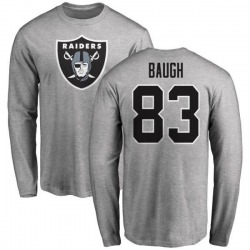 Men's Marcus Baugh Oakland Raiders Name & Number Logo Long Sleeve T-Shirt - Ash