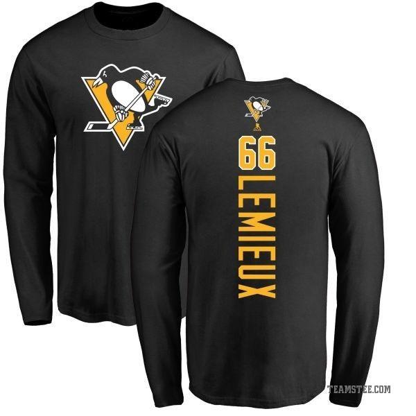 super popular 41df0 81b62 Men's Mario Lemieux Pittsburgh Penguins Backer Long Sleeve T-Shirt - Black  - Teams Tee