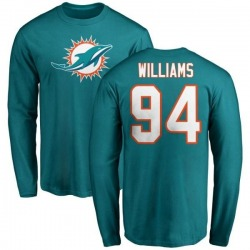 Men's Mario Williams Miami Dolphins Name & Number Logo Long Sleeve T-Shirt - Aqua