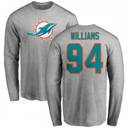 Men's Mario Williams Miami Dolphins Name & Number Logo Long Sleeve T-Shirt - Ash