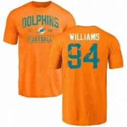 Men's Mario Williams Miami Dolphins Orange Distressed Name & Number Tri-Blend T-Shirt