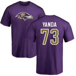 Men's Marshal Yanda Baltimore Ravens Name & Number Logo T-Shirt - Purple
