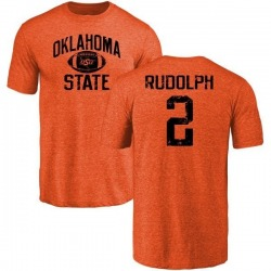 Men's Mason Rudolph Oklahoma State Cowboys Distressed Football Tri-Blend T-Shirt - Orange