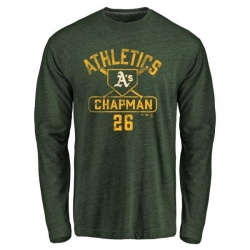 Men's Matt Chapman Oakland Athletics Base Runner Tri-Blend Long Sleeve T-Shirt - Green