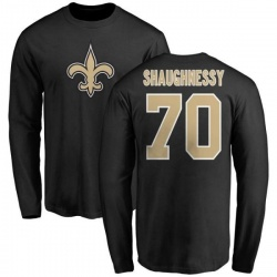 Men's Matt Shaughnessy New Orleans Saints Name & Number Logo Long Sleeve T-Shirt - Black