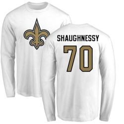 Men's Matt Shaughnessy New Orleans Saints Name & Number Logo Long Sleeve T-Shirt - White