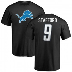 Men's Matthew Stafford Detroit Lions Name & Number Logo T-Shirt - Black
