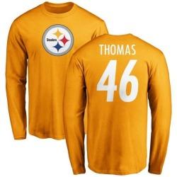 Men's Matthew Thomas Pittsburgh Steelers Name & Number Logo Long Sleeve T-Shirt - Gold